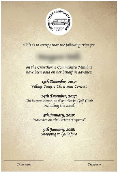 Crowthorne Community Minibus Gift Certificate